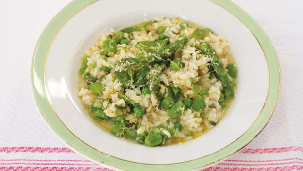Risotto Primavera with asparagus, broad beans & peas
